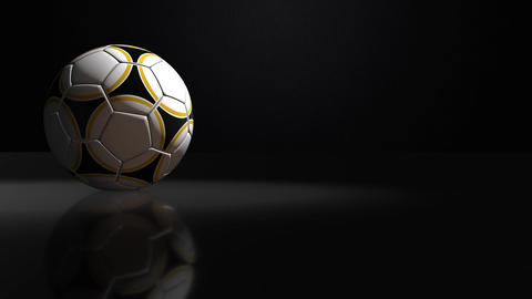 Soccerball Spinning Isolated on Black Background, seamles looping Animation