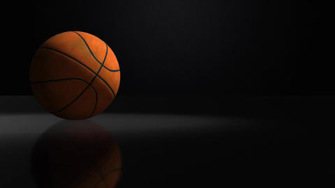 basketball Spinning Isolated on Black Background, seamles looping Animation