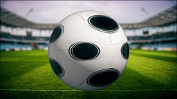Soccer player kicking ball in stadium - TV Show Intro Animation