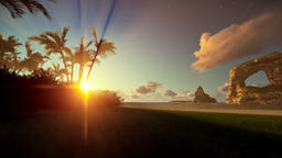 Tropical island with palm trees and rocks in ocean at sunrise, panning Animation