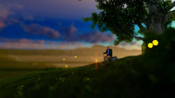 Grandfather resting under a tree on green meadow, flying fireflies Animation
