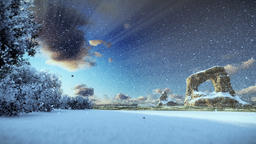 Winter coastline landscape, morning mist Animation