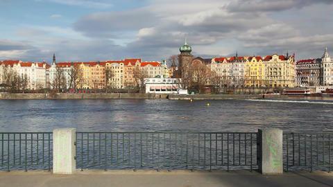 Vltava River and prague architecture Footage