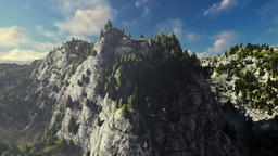Mount Rushmore on a sunny day, timelapse clouds, camera fly Animation