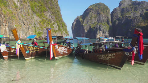 Long tail boats on famous beach in Maya bay Footage