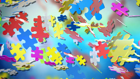 Colorful puzzle pieces Animation