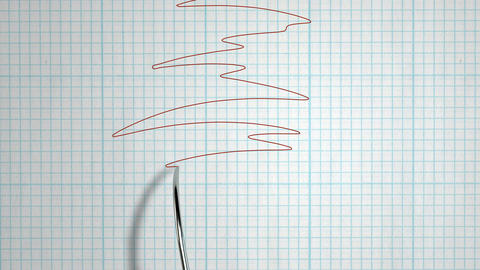 Polygraph lie detector needle drawing red line Animation