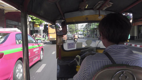 Trip in tuk-tuk through the streets of Bangkok Footage