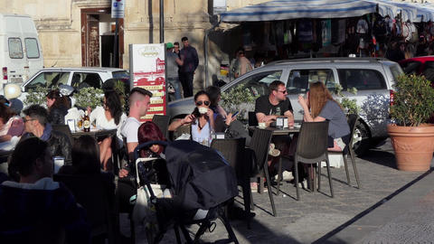 Italian People And Tourists At Bar In Siracusa Sicily Italy