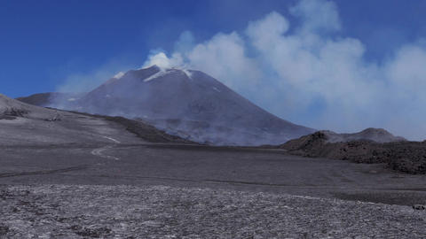 Mount Etna During Eruption With Smoke Active Volcano Erupting Footage