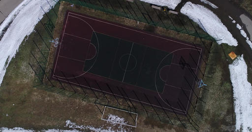 Aerial view empty basketball court Image