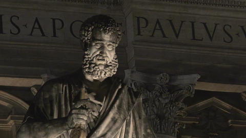 View on famous Saint Peter marble statue near Italian Renaissance Church Footage