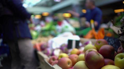People buying fruit at local food market, healthy eating, seasonal shopping Footage