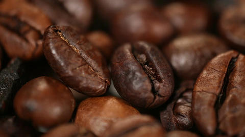 Select dark roasted coffee beans, rich flavor and taste of espresso in cafe Footage