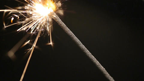 Burning Bengal light close-up, Christmas atmosphere, holidays, good mood Footage