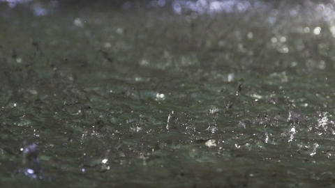 Life beginnings, clear drops of water falling, splashing on ground, nature Footage