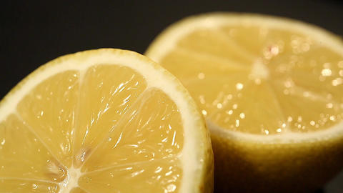 Juicy cut lemon rich in vitamin C, effective remedy and antiseptic in medicine Footage