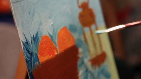 Talented female artist painting beautiful picture,… Stock Video Footage
