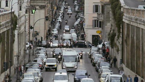 Traffic jam in European city, cars moving slowly in lanes, transportation system Footage