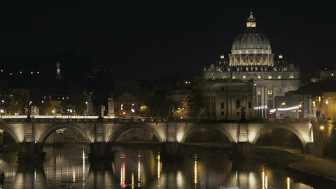 St. Peter's Basilica in Vatican, beautiful view on bridge, evening cityscape Footage