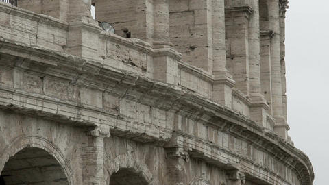 Colosseum, panorama of ancient building, Flavian amphitheater in Rome, Italy Footage