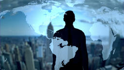 Businessman silhouette using holographic earth map interface technology - Loop Animation