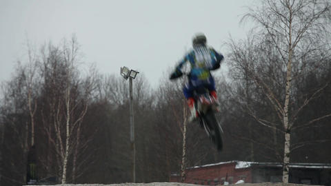 daring motorcyclists high jumps Footage