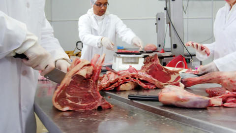 Butchers cutting meat and checking the weight of meat at meat factory Live Action