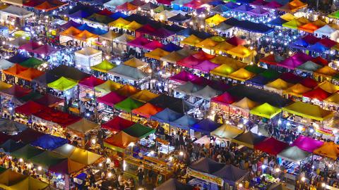 Night Market Ratchada in Bangkok, Thailand Footage