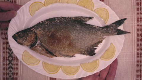Fish bream baked in oven Footage