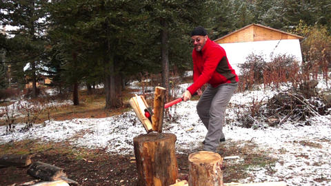 Lumberman Cutting Wood Footage