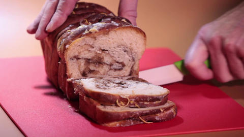 cut up sweet bread with cinnamon Footage