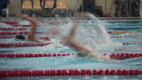 Backstroke race tracking shot view of the low angle Archivo