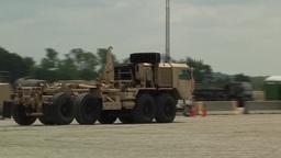 Camp Atterbury truck lorry vehicle Marshaling Yard Stock Video Footage