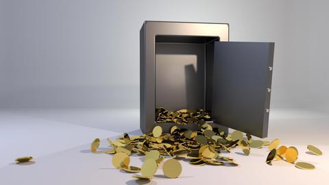 Safe vault fall spill gold coins falling spilling valuable win land landing 4K Footage