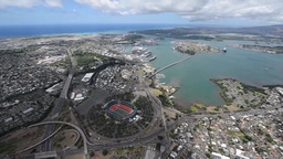 Aerial view of ships moored at Joint Base Pearl Harbor-Hickam and Oahu Footage