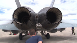 CF-118 Hornet fighter jet engine tail pipe Footage