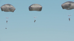 Parachutists landing at the Arctic Thunder Airshow - Open House 2014 Footage