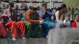 Kinnaur women in tradional dress,Kalpa,India Footage