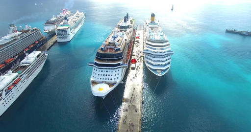 Aerial view of Docked Cruise Ships Footage
