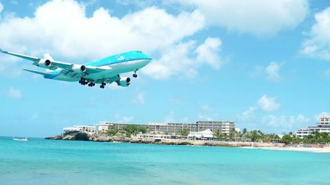 KLM 747 Landing sxm airport Footage