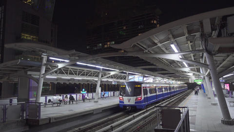 BTS Sky train and people on metro station Footage