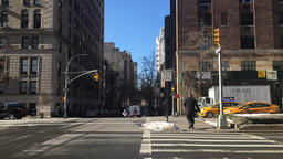 Pedestrians at a crosswalk in midtown Manhattan Footage
