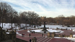 View of Central Park fountain in Winter Footage