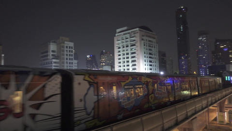 BTS Sky train is running in downtown of Bangkok Footage