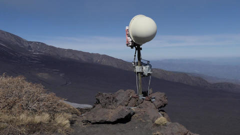 Surveillance Camera To Monitor Eruption Activity Of Mount Etna Volcano Image