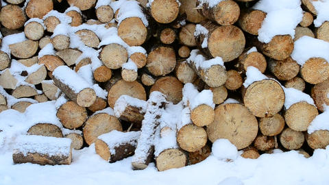 Wooden Logs in Snow Footage
