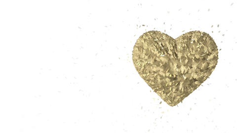 Many gold cubes are formed in a 3d Golden heart which throbs and beats. In the e Animation