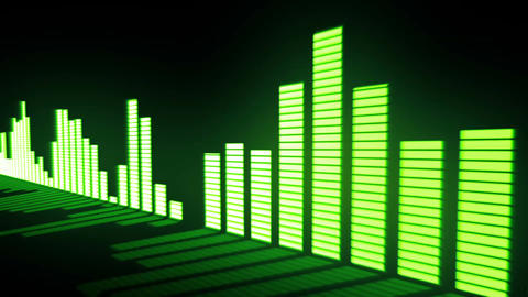 Music control levels. Glow acid-green audio equalizer bars moving with the refle Animation