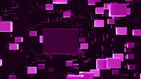 Abstract looped animated background based on the movement of purple-violet cubes Animation